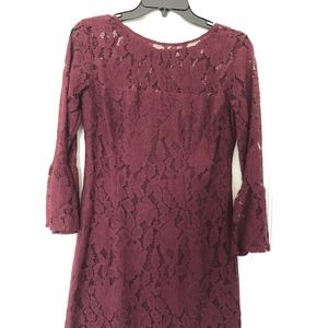BB Dakota Burgundy Lace Long Sleeve Dress